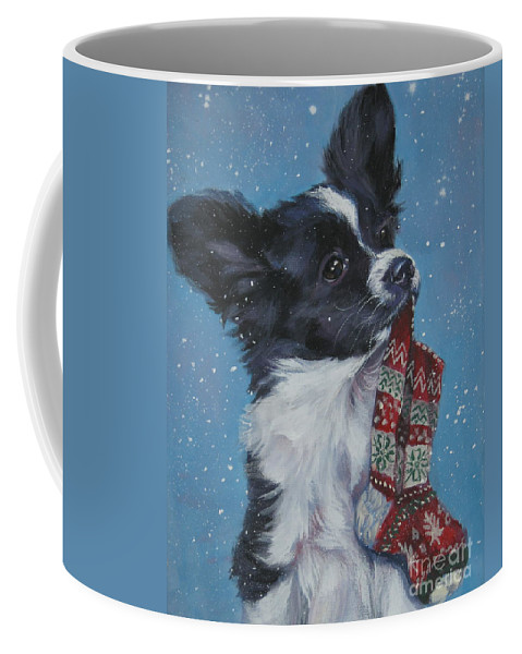 Papillon Coffee Mug featuring the painting Papillon Puppy With Xmas Stocking by Lee Ann Shepard