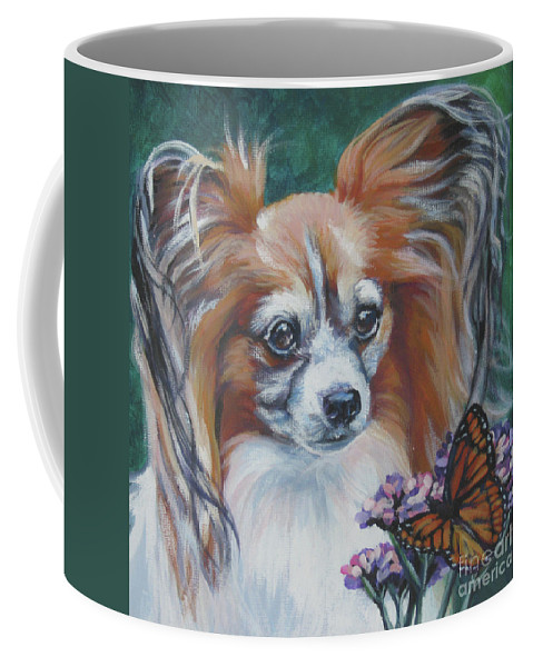 Papillon Coffee Mug featuring the painting Papillon With Monarch by Lee Ann Shepard