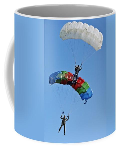 Air Coffee Mug featuring the photograph Parachutists Biplane by Vadzim Kandratsenkau