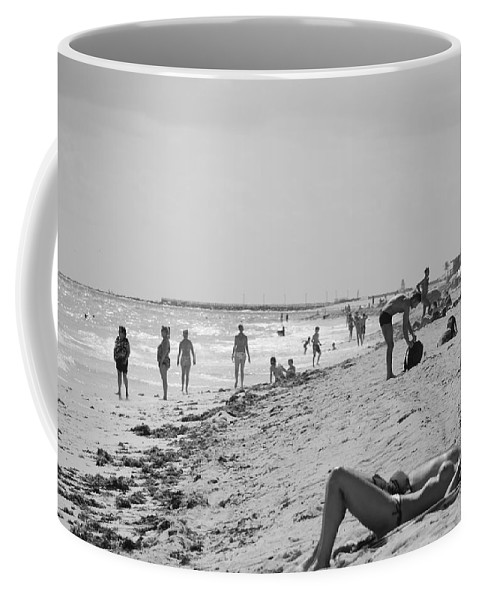 Black And White Coffee Mug featuring the photograph Paradise Beach In Black And White by Rob Hans