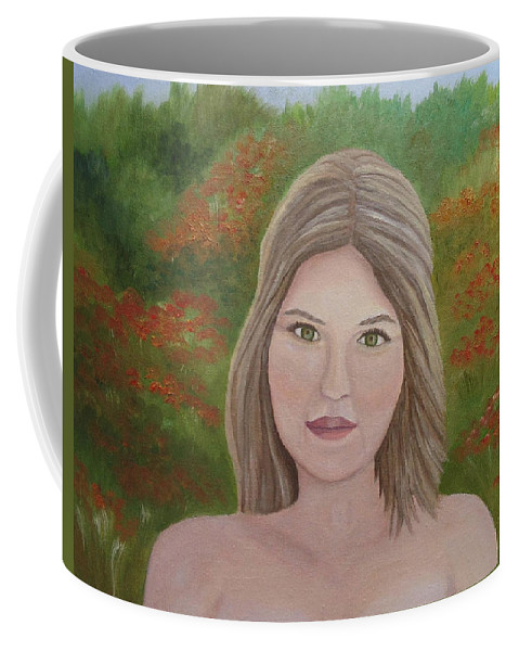 Paradise Coffee Mug featuring the painting Paradise Lost by Angeles M Pomata