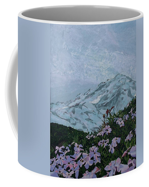 Landscape Coffee Mug featuring the painting Paradise Mount Rainier by Leah Tomaino