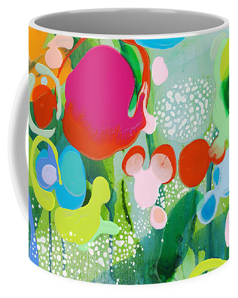 Abstract Coffee Mug featuring the painting Paradise Outer Limits by Claire Desjardins