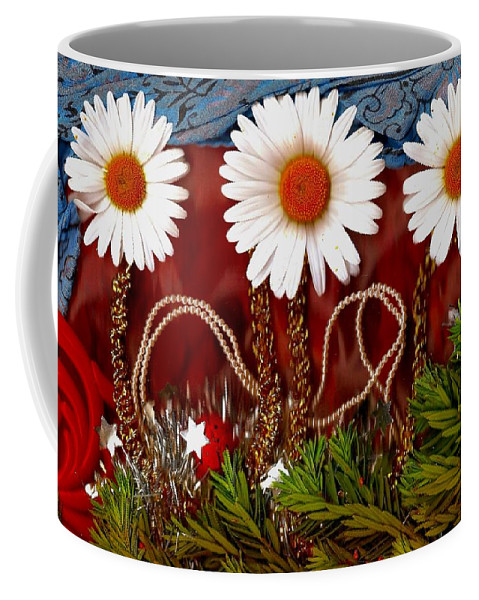 Flowers Coffee Mug featuring the mixed media Paradise Peace by Pepita Selles