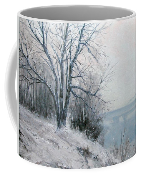 Art Coffee Mug featuring the painting Paradise Point Bridge Winter by Jim Gola