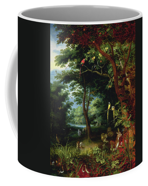Paradise Coffee Mug featuring the painting Paradise Scene With Adam And Eve by Jan the Younger Brueghel