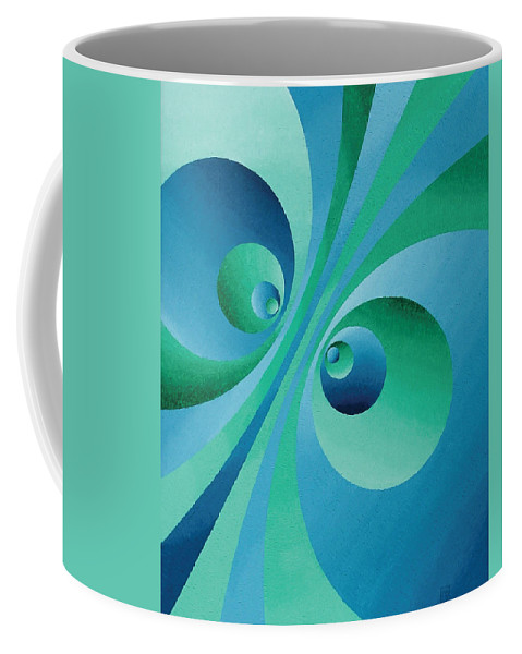 Oil Coffee Mug featuring the painting Parallel Universes by Peter Antos