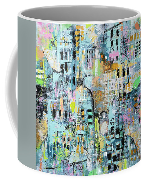 Abstract Coffee Mug featuring the painting Parallel Worlds by Florentina Maria Popescu