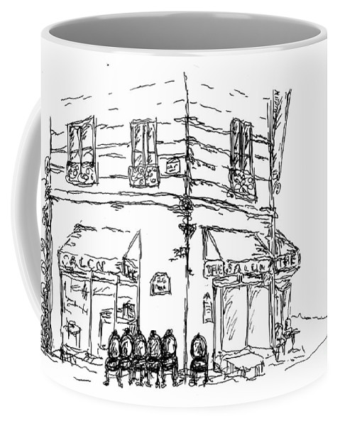Paris Coffee Mug featuring the drawing Paris Cafe by Pamela Canzano