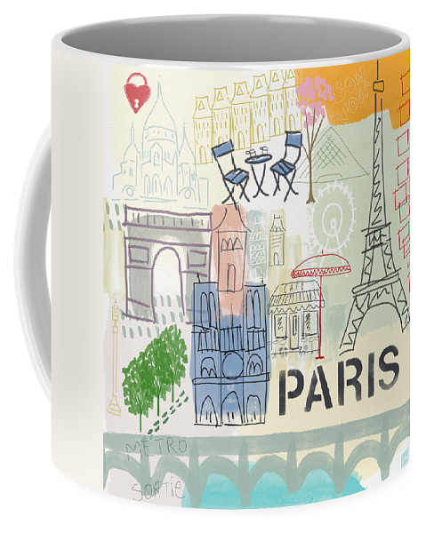 Paris Coffee Mug featuring the painting Paris Cityscape- Art by Linda Woods by Linda Woods