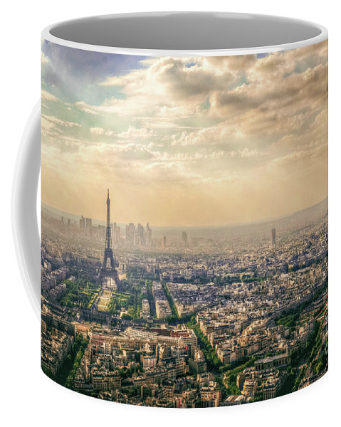 Above Coffee Mug featuring the photograph Paris Eiffel Skyline And Cityscape Aerial View At Sunset From Montparnasse Tower Observation Deck by Mohamed Kazzaz
