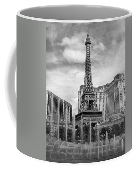 Paris Hotel Coffee Mug featuring the photograph Paris Hotel - Las Vegas B-w by Anita Burgermeister