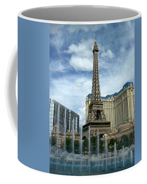Pars Hotel Coffee Mug featuring the photograph Paris Hotel And Bellagio Fountains by Anita Burgermeister