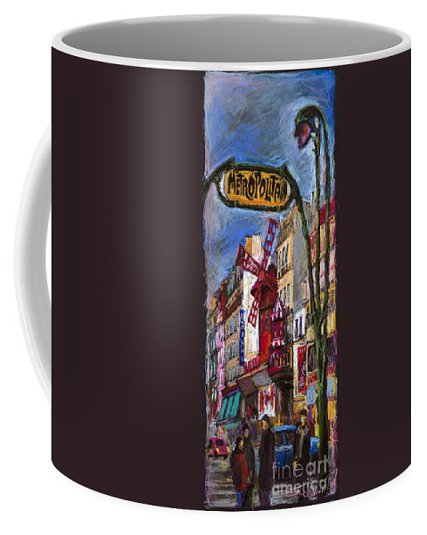 Cityscape Coffee Mug featuring the painting Paris Mulen Rouge by Yuriy Shevchuk