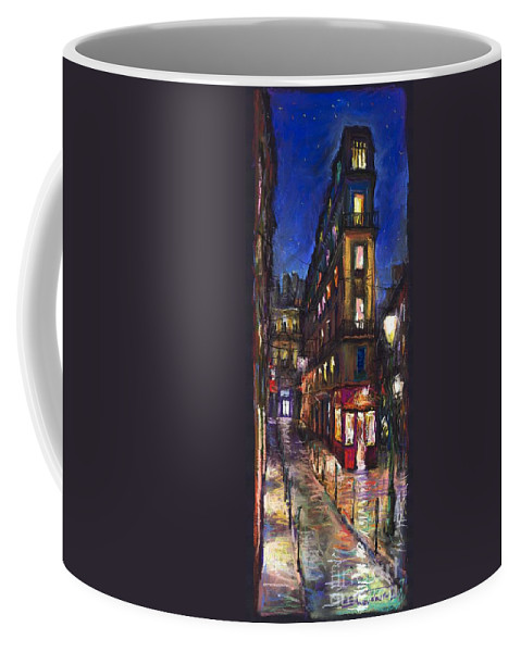 Landscape Coffee Mug featuring the painting Paris Old street by Yuriy Shevchuk