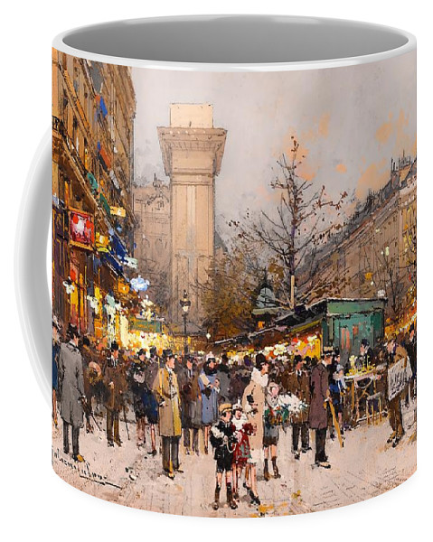 Painting Coffee Mug featuring the painting Paris - Porte Saint by Mountain Dreams
