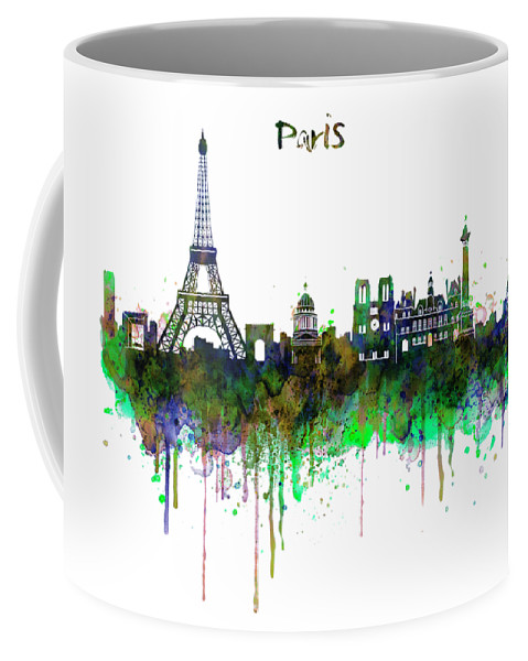 Paris Coffee Mug featuring the painting Paris Skyline Watercolor by Marian Voicu