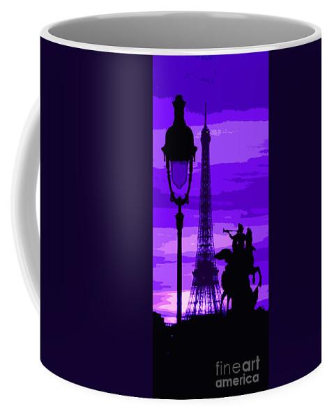 Paris Coffee Mug featuring the photograph Paris Tour Eiffel Violet by Yuriy Shevchuk