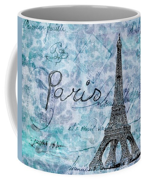 Blue Coffee Mug featuring the painting Paris - V01t01a by Variance Collections