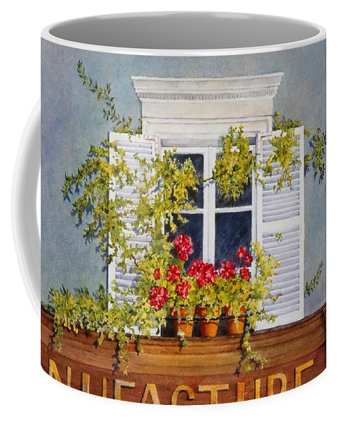 France Coffee Mug featuring the painting Parisian Window by Mary Ellen Mueller Legault