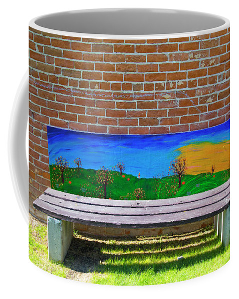 Bench Coffee Mug featuring the photograph Park bench Emmetti Idaho by Dart and Suze Humeston