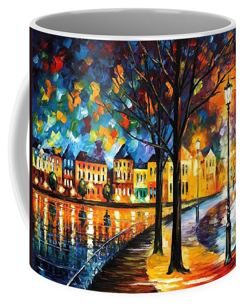 Afremov Coffee Mug featuring the painting Park By The River by Leonid Afremov