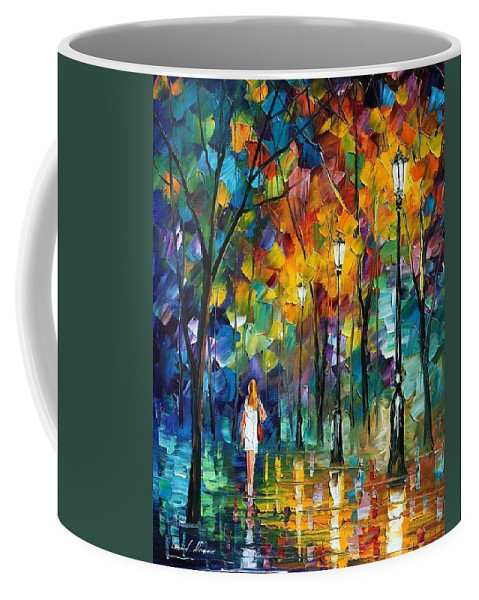 Afremov Coffee Mug featuring the painting Park New by Leonid Afremov