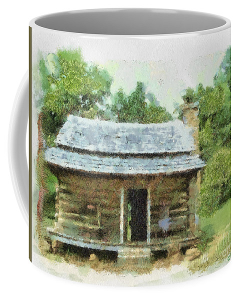Blue Coffee Mug featuring the painting Parkway Cabin by Paulette B Wright