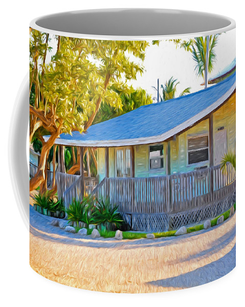 Parmer's Coffee Mug featuring the photograph Parmer's Resort Cottage In Keys Sunset Glow by Ginger Wakem