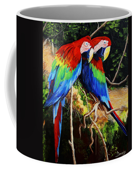 Blue Coffee Mug featuring the painting Parrots In The Jungle by Dominica Alcantara