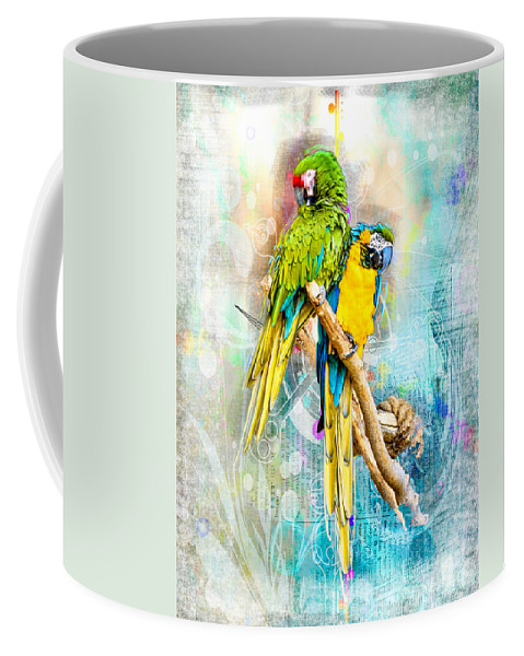 Parrot Coffee Mug featuring the photograph Parrots by Larry White