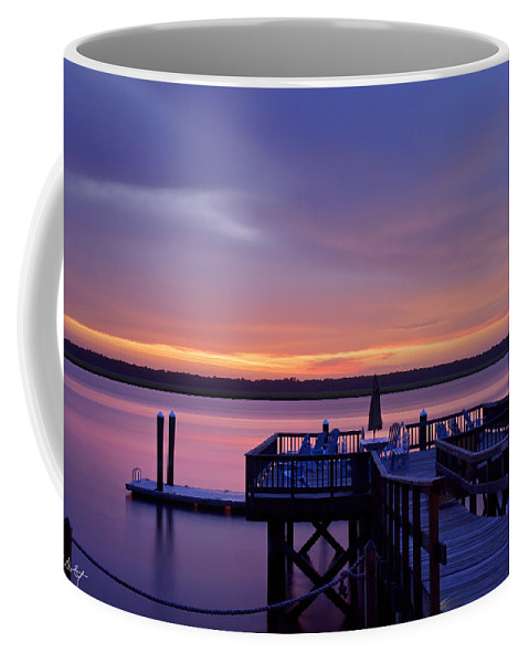 Sunset Coffee Mug featuring the photograph Party Dock by Phill Doherty