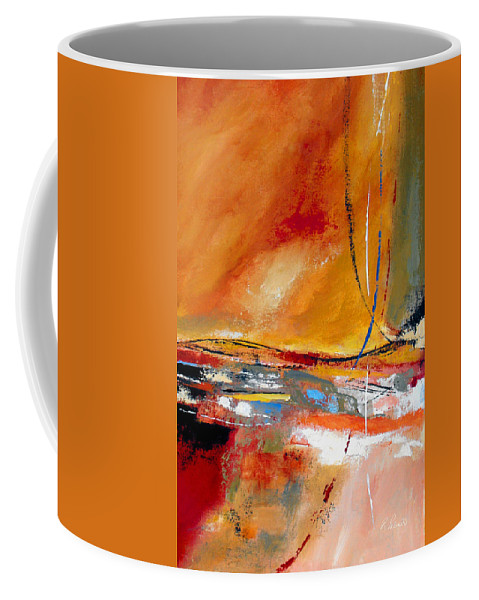 Abstract Coffee Mug featuring the painting Party Lines by Ruth Palmer
