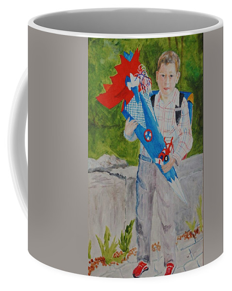 School Coffee Mug featuring the painting Pascals First Day At School 2004 by Helmut Rottler