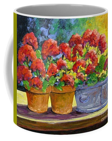 Still Life; Geraniums; Flowers; Terra Cotta; Red; Blue; Yellow; Green; Pranke; Coffee Mug featuring the painting Passion In Red by Richard T Pranke