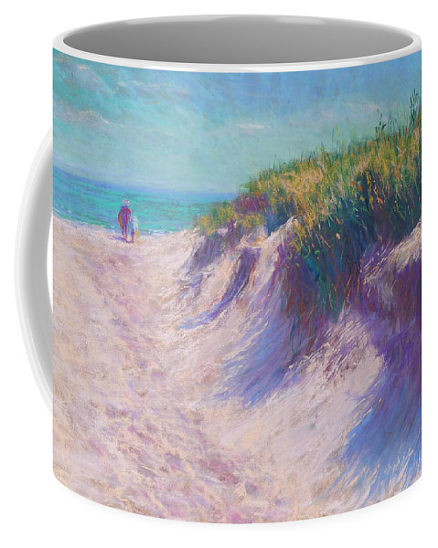 Pastel Coffee Mug featuring the pastel Past The Dunes by Michael Camp