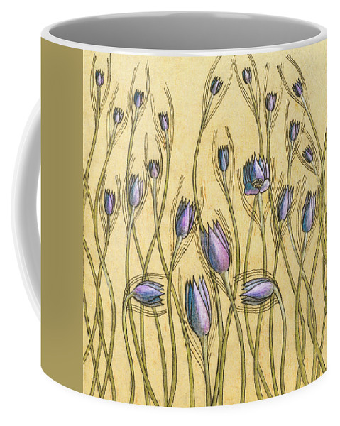 Floral Coffee Mug featuring the photograph Pastel Floral Pattern On Soft Yellow Background by Olga Akulinina