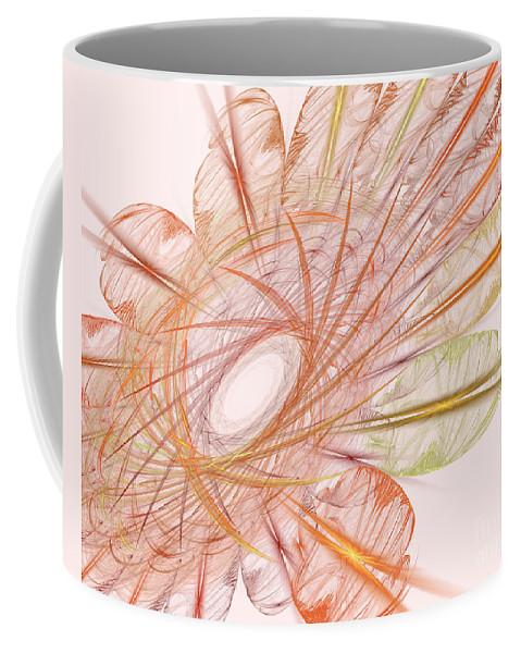 Spiral Coffee Mug featuring the digital art Pastel Spiral Flower by Deborah Benoit