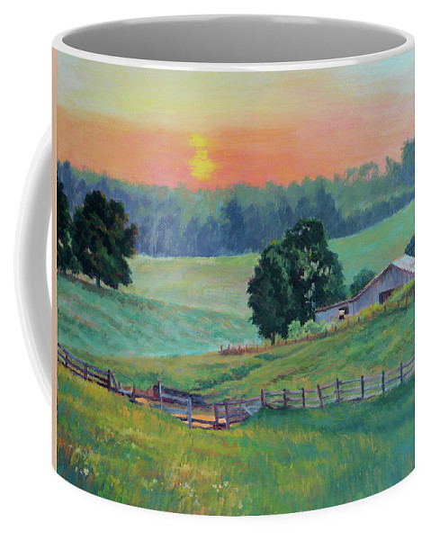 Impressionism Coffee Mug featuring the painting Pastoral Sunset by Keith Burgess