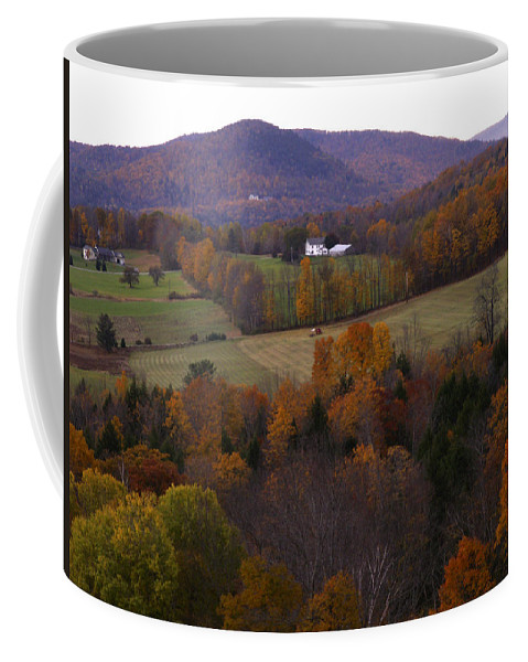 Vermont Coffee Mug featuring the photograph Patch Worked Mountains In Vermont by Nancy Griswold