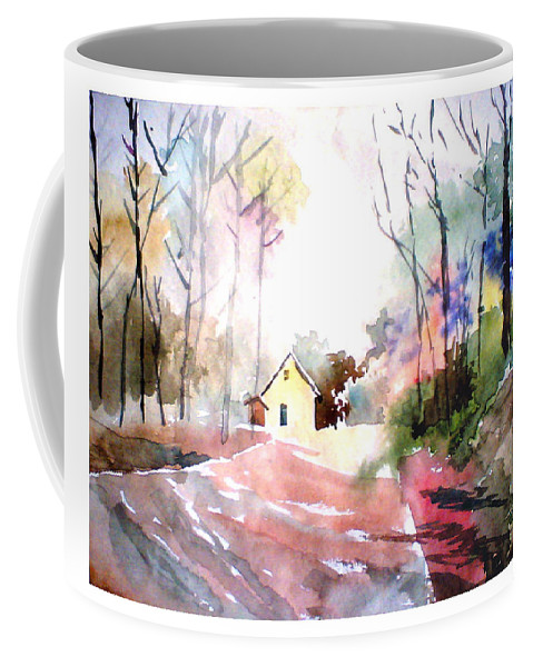 Nature Coffee Mug featuring the painting Path In Colors by Anil Nene