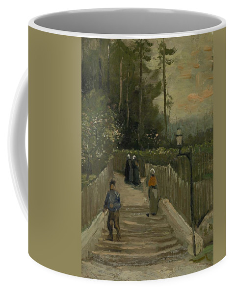 Man Coffee Mug featuring the painting Path In Montmartre Paris April - May 1886 Vincent Van Gogh 1853 1890 by Artistic Panda