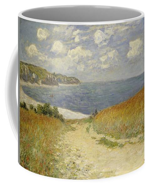 Path In The Wheat At Pourville Coffee Mug featuring the painting Path In The Wheat At Pourville by Claude Monet