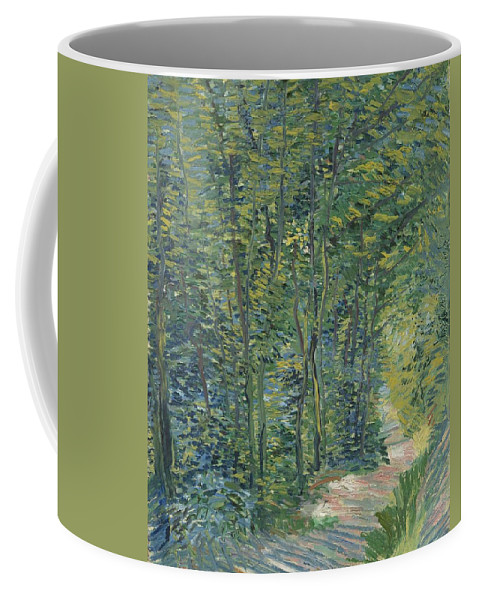 Nature Coffee Mug featuring the painting Path In The Woods by Artistic Panda