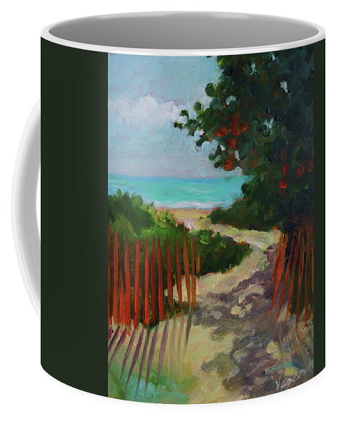 Beach Coffee Mug featuring the painting Path To Delray Beach 1 by Valerie Vescovi