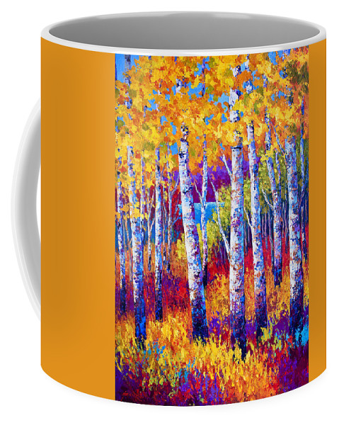 Birch Coffee Mug featuring the painting Path To The Lake by Marion Rose