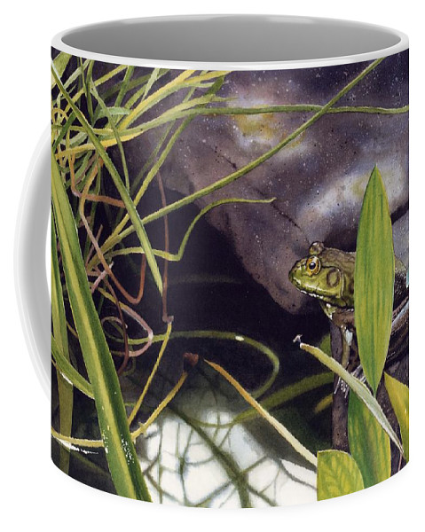 Frog Coffee Mug featuring the painting Patience by Denny Bond