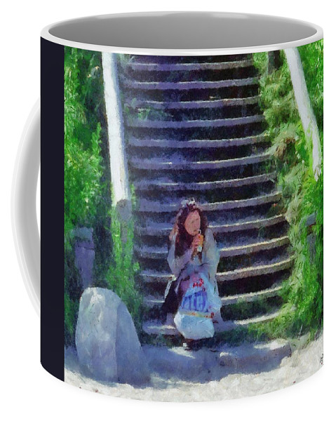 Woman Coffee Mug featuring the painting Patiently Waiting by Jeffrey Kolker
