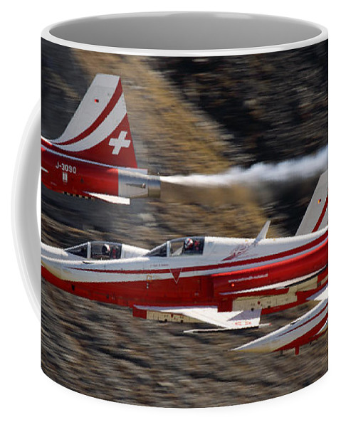 Patrouille Suisse Coffee Mug featuring the photograph Patouille Suisse by Angel Ciesniarska