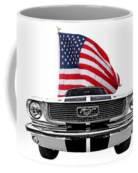 Ford Mustang Coffee Mug featuring the photograph Patriotic Mustang On White by Gill Billington